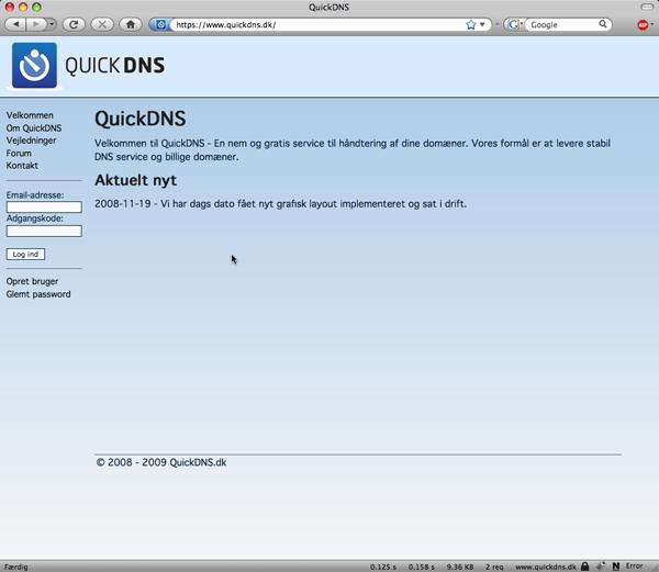 QuickDNS - Vejledninger - Opret ny zone
